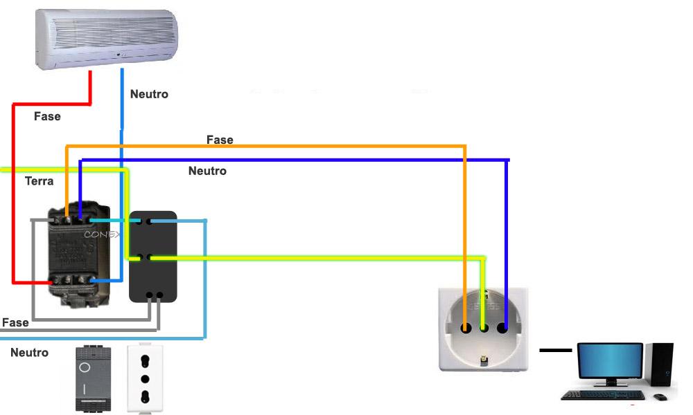 Schema Collegamento Interruttore Luminoso : Collegare presa e interruttore indipendenti