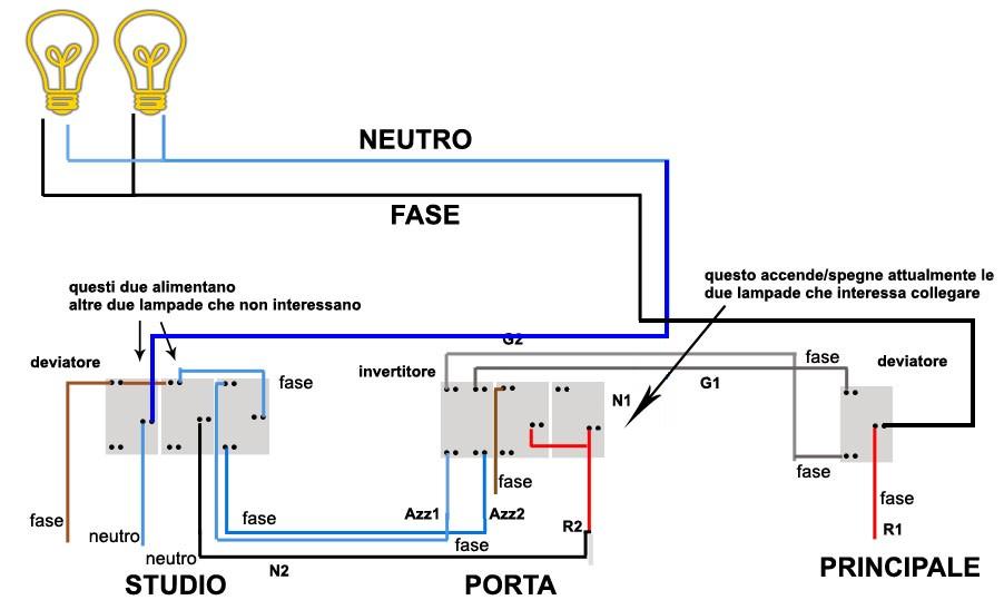Schema Elettrico Lampadario Doppia Accensione : Accensione luce da tre punti con rele montare motore