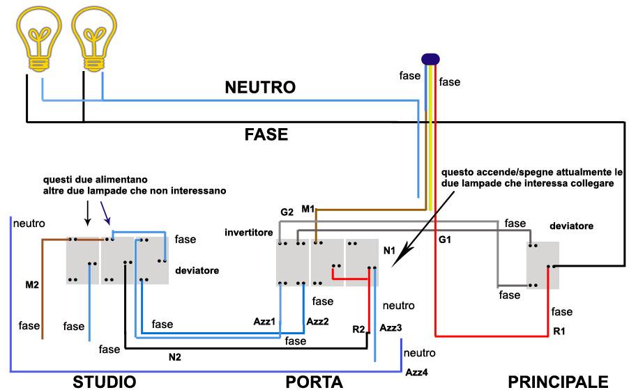 Schema Elettrico Per 4 Punti Luce : Accensione due lampade da tre punti luce altro su