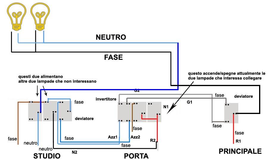 Schema Elettrico Per 3 Punti Luce : Accensione due lampade da tre punti luce altro su